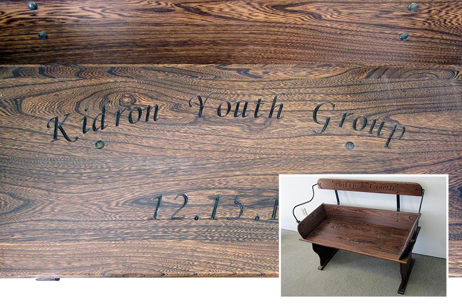 cnc engraving on bench