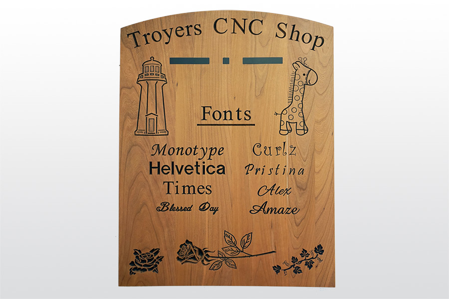information board on wall at troyers cnc shop